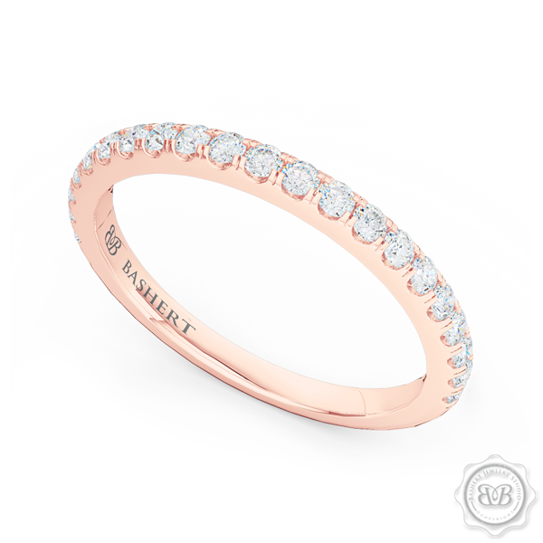 Classic Fishtail Diamond Diamond encrusted Wedding Band.  Handcrafted in Romantic Rose Gold. Free Shipping for All USA Orders. 30-Day Returns | BASHERT JEWELRY | Boca Raton, Florida