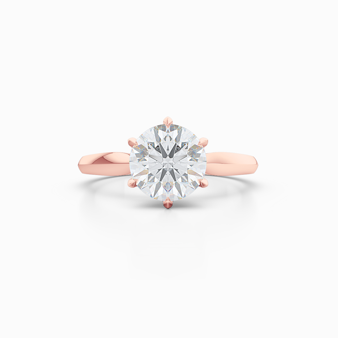 Elegant six-prong Solitaire Engagement Ring. Hand-fabricated in sustainable, solid, Romantic Rose Gold and GIA Certified Round Brilliant Diamond. Free Shipping for All USA Orders. 15-Day Returns | BASHERT JEWELRY | Boca Raton, Florida