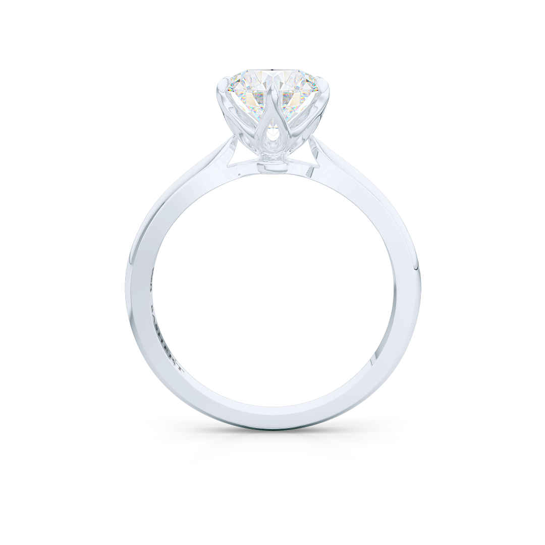 Elegant six-prong Solitaire Engagement Ring. Handcrafted in sustainable, solid White Gold and GIA Certified Round Brilliant Diamond. Free Shipping for All USA Orders. 15-Day Returns | BASHERT JEWELRY | Boca Raton, Florida
