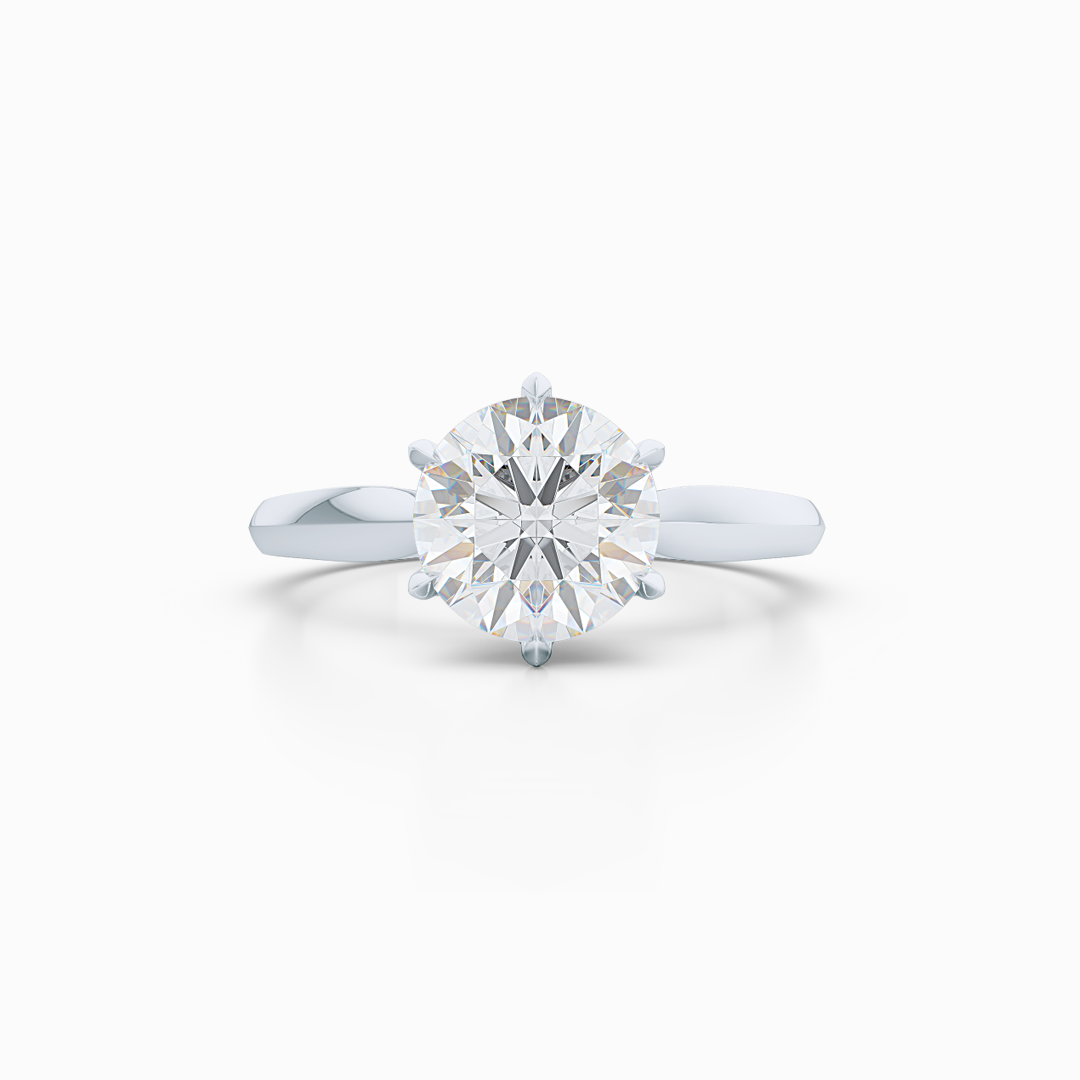 Elegant six-prong Solitaire Engagement Ring. Handcrafted in sustainable, Precious Platinum 950 and GIA Certified Round Brilliant Diamond. Free Shipping for All USA Orders. 15-Day Returns | BASHERT JEWELRY | Boca Raton, Florida