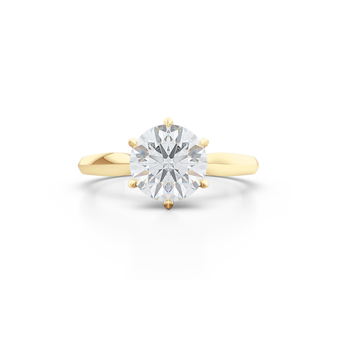 Elegant six-prong Solitaire Engagement Ring. Hand-fabricated in sustainable, solid Classic Yellow Gold and Charles & Colvard Forever One, Round Brilliant Moissanite.  Free Shipping for All USA Orders. 15-Day Returns | BASHERT JEWELRY | Boca Raton, Florida