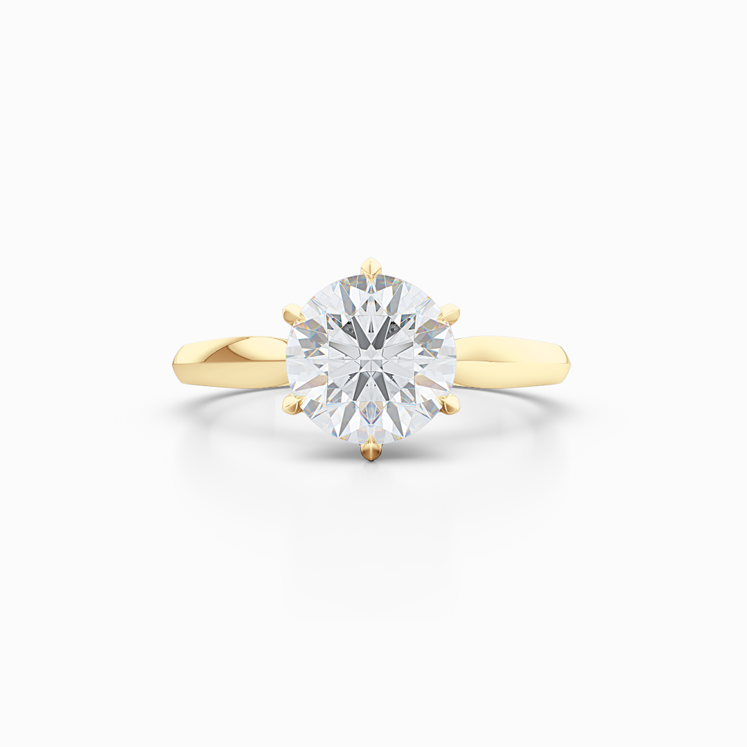 Elegant six-prong Solitaire Engagement Ring. Hand-fabricated in sustainable, solid, Classic Yellow Gold and GIA Certified Round Brilliant Diamond. Free Shipping for All USA Orders. 15-Day Returns | BASHERT JEWELRY | Boca Raton, Florida