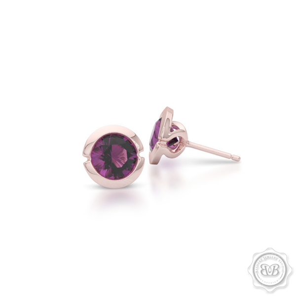 Elegant Design with a Modern Appeal – Mystic Rhodolite Garnet Martini Stud Earrings Handcrafted in Romantic Rose Gold. Find The Perfect Pair for Your Budget. Make it Personal - Choose Your Gemstones! Free Shipping on All USA Orders. 30-Day Returns | BASHERT JEWELRY | Boca Raton, Florida