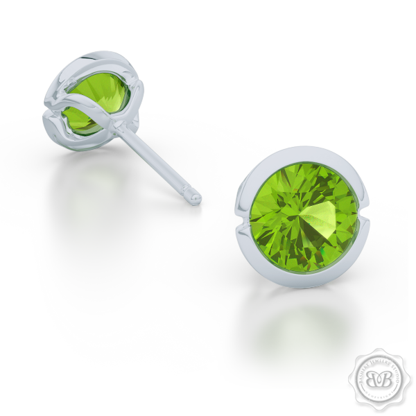 Classic Martini Stud Earrings with a modern twist. Handcrafted in Sterling Silver and Apple Green Peridots. Find The Perfect Pair for Your Budget. Make it Personal - Choose Your Gemstones! Free Shipping on All USA Orders. 30-Day Returns | BASHERT JEWELRY | Boca Raton, Florida.