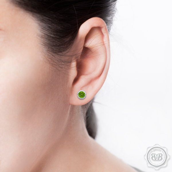 Elegant Design with a Modern Appeal - Apple Green Peridot Martini Stud Earrings Handcrafted in Romantic Rose Gold. Find The Perfect Pair for Your Budget. Make it Personal - Choose Your Gemstones! Free Shipping on All USA Orders. 30Day Returns | BASHERT JEWELRY | Boca Raton Florida