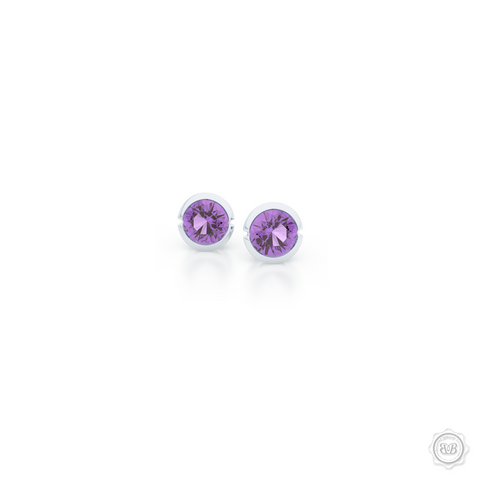 Elegant Design with a Modern Appeal - Royal Lilac Amethyst  Martini Stud Earrings Handcrafted in Romantic Rose Gold. Find The Perfect Pair for Your Budget. Make it Personal - Choose Your Gemstones! Free Shipping on All USA Orders. 30Day Returns | BASHERT JEWELRY | Boca Raton Florida