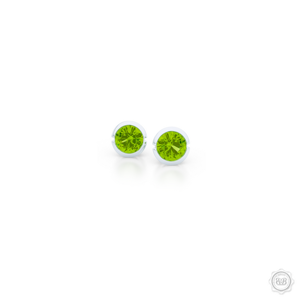 Classic Martini Peridot Stud Earrings with a modern twist. Handcrafted in Sterling Silver and Apple Green Peridots. Find The Perfect Pair for Your Budget. Make it Personal - Choose Your Gemstones! Free Shipping on All USA Orders. 30-Day Returns | BASHERT JEWELRY | Boca Raton, Florida.