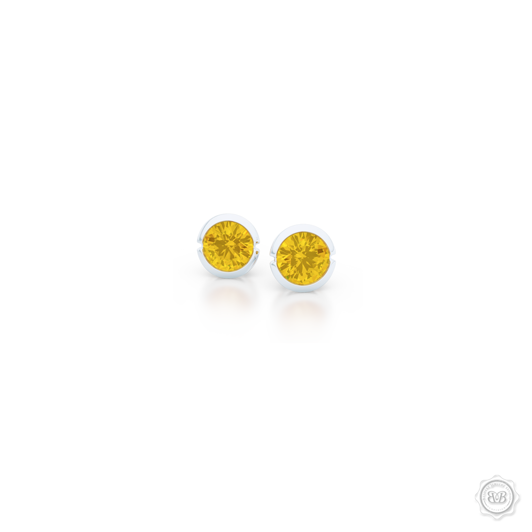 Classic Martini Citrine Stud Earrings with a modern twist. Handcrafted in Sterling Silver and Sunny Citrines. Find The Perfect Pair for Your Budget. Make it Personal - Choose Your Gemstones! Free Shipping on All USA Orders. 30-Day Returns | BASHERT JEWELRY | Boca Raton, Florida.
