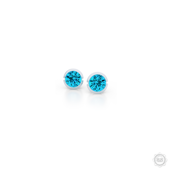 Elegant Design with a Modern Appeal - Sky Blue Topaz Martini Stud Earrings Handcrafted in Romantic Rose Gold. Find The Perfect Pair for Your Budget. Make it Personal - Choose Your Gemstones! Free Shipping on All USA Orders. 30Day Returns | BASHERT JEWELRY | Boca Raton Florida