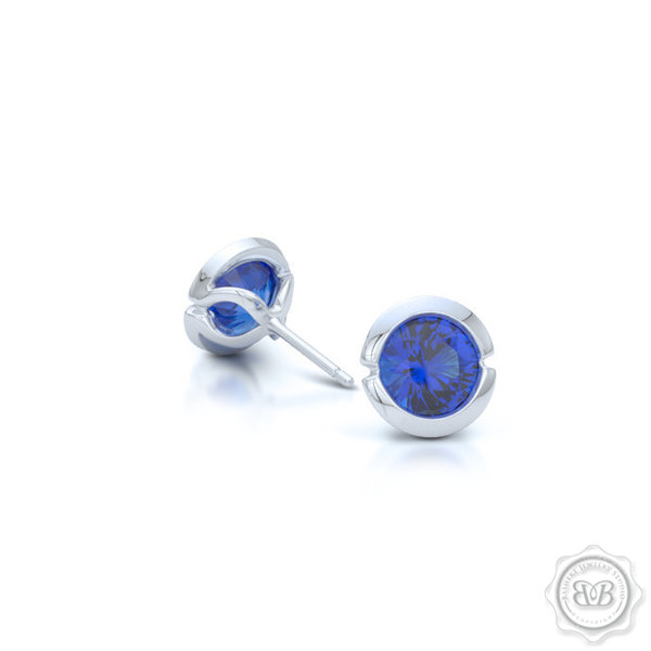 Classic Royal Blue Sapphire Martini Stud Earrings Handcrafted in White Gold or Platinum. Find The Perfect Pair for Your Budget. Make it Personal - Choose Your Gemstones! Free Shipping on All USA Orders. 30Day Returns | BASHERT JEWELRY | Boca Raton Florida