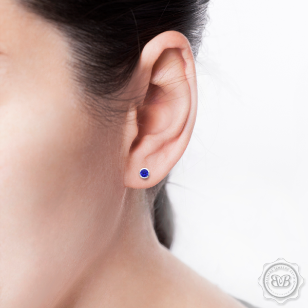 Classic Martini Stud Earrings with a modern twist. Handcrafted in White Gold or Platinum and Royal Blue Sapphires. Find The Perfect Pair for Your Budget. Make it Personal - Choose Your Gemstones! Free Shipping on All USA Orders. 30-Day Returns | BASHERT JEWELRY | Boca Raton, Florida.