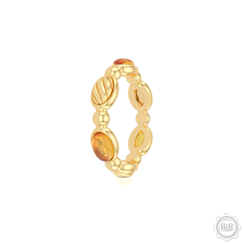 Madeira Citrines - Color Gemstone Eternity, Anniversary, Stackable Ring Band. Handcrafted in Classic Yellow Gold and Yellow Gold accents.  Free Shipping on all USA orders. 30 Day Returns. BASHERT JEWELRY | Boca Raton, Florida