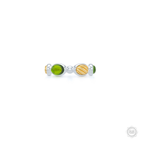 Green Peridot  Gemstone Eternity, Anniversary, Stackable Ring Band. Handcrafted in two tone gold. White Gold Band and Yellow Gold accents.  Free Shipping on all USA orders. 30 Day Returns. BASHERT JEWELRY | Boca Raton, Florida
