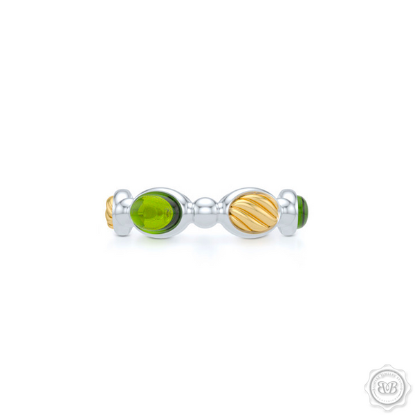 Green Peridot - Color Gemstone Eternity, Anniversary, Stackable Ring Band. Handcrafted in two tone gold. White Gold Band and Yellow Gold accents.  Free Shipping on all USA orders. 30 Day Returns. BASHERT JEWELRY | Boca Raton, Florida