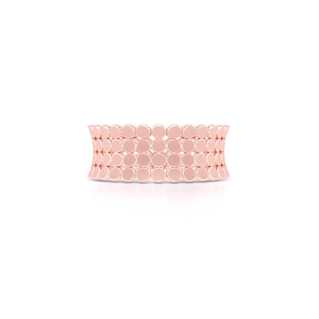 A uni-sex Concave Wedding Band. Four rows of pods, hand-fabricated in sustainable, solid 18K Rose Gold. Free Shipping for All USA Orders. | BASHERT JEWELRY | Boca Raton, Florida