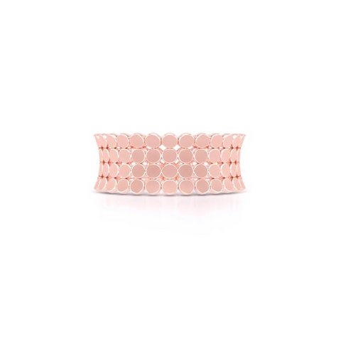 A uni-sex Concave Wedding Band. Four rows of pods, hand-fabricated in sustainable, solid 14K Rose Gold. Free Shipping for All USA Orders. | BASHERT JEWELRY | Boca Raton, Florida