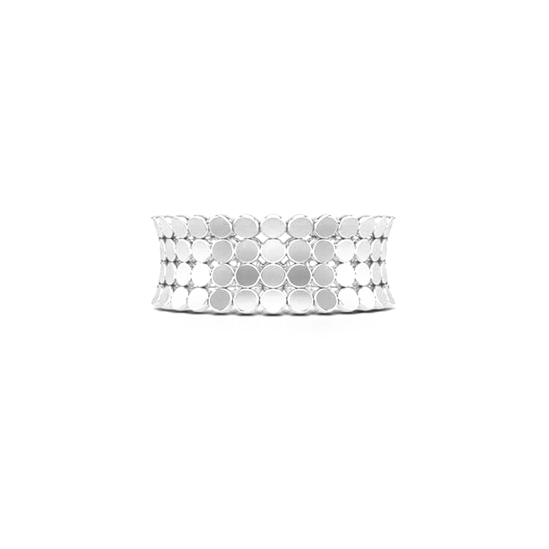 A uni-sex Concave Wedding Band. Four rows of pods, hand-fabricated in sustainable, solid Sterling Silver. Free Shipping for All USA Orders. | BASHERT JEWELRY | Boca Raton, Florida
