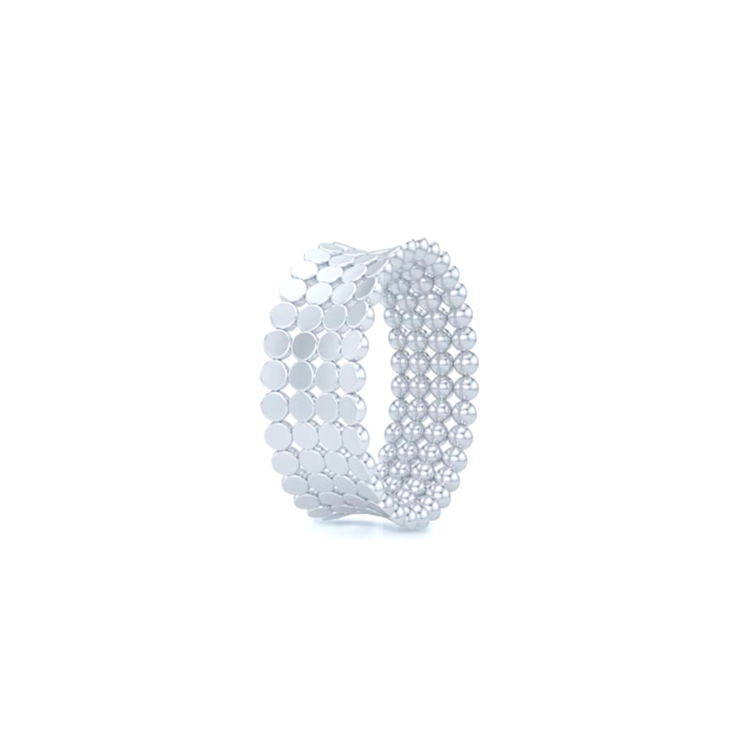 A uni-sex Concave Wedding Band. Four rows of pods, hand-fabricated in sustainable, solid 18K White Gold. Free Shipping for All USA Orders. | BASHERT JEWELRY | Boca Raton, Florida
