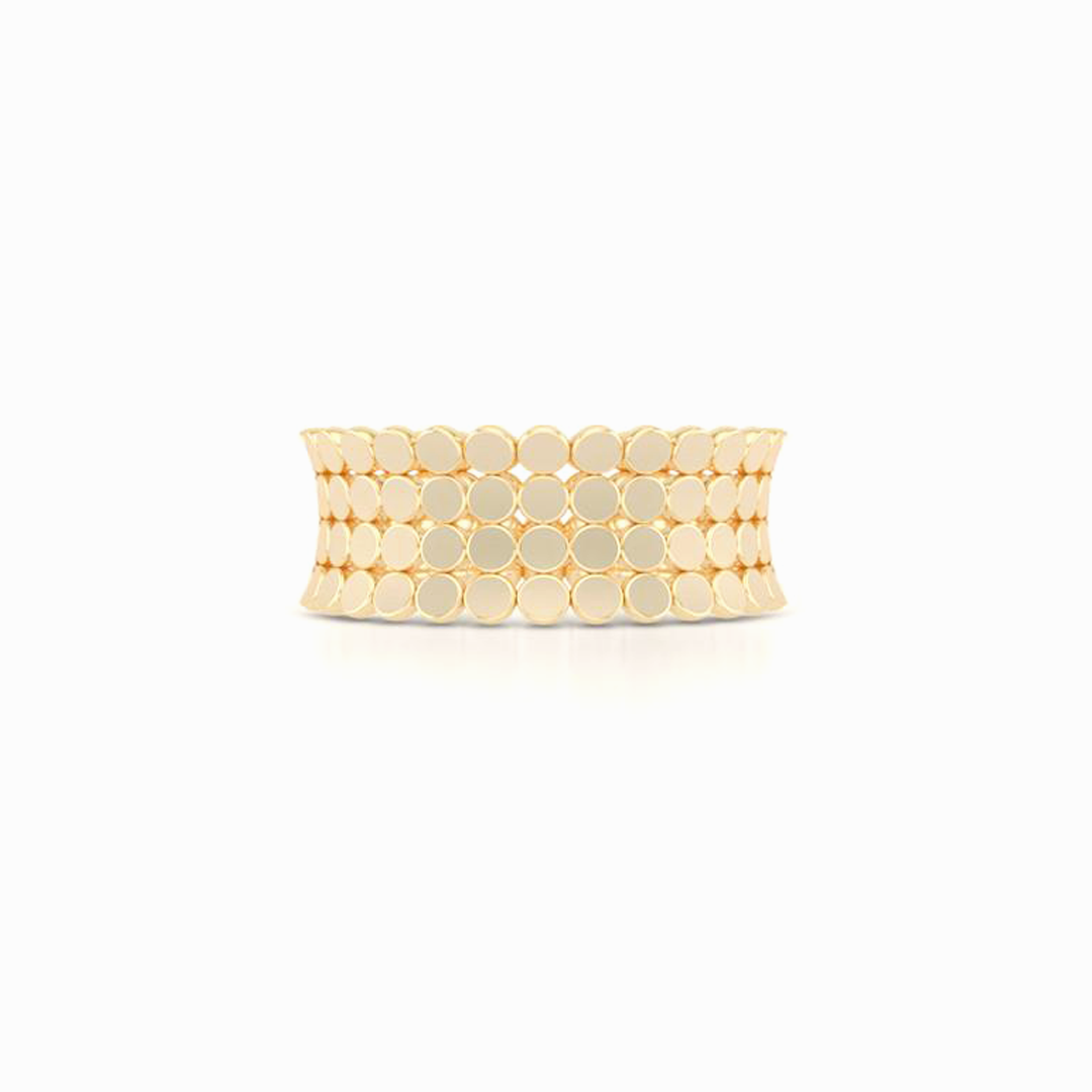 A uni-sex Concave Wedding Band. For row pods, hand-fabricated in sustainable, solid 14K Yellow Gold. Free Shipping for All USA Orders. | BASHERT JEWELRY | Boca Raton, Florida