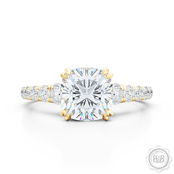 Classic Four Split Prong Cushion Cut Moissanite Solitaire Engagement Ring. Handcrafted in Classic Yellow Gold. Charles & Colvard Forever One,  Colorless Moissanite. French Pavé set Diamond shoulders. Free Shipping for All USA Orders. 30-Day Returns | BASHERT JEWELRY | Boca Raton, Florida.