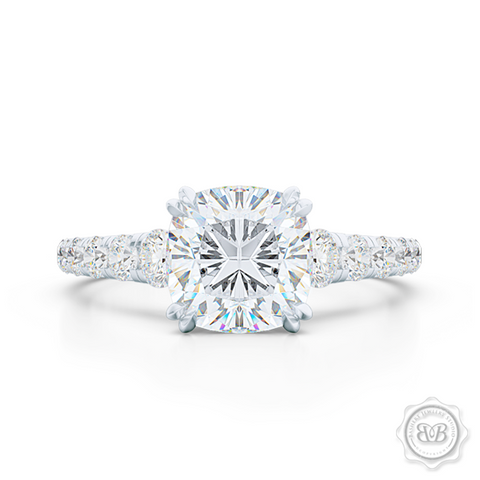 Classic Four Split Prong Cushion Cut Diamond Solitaire Engagement Ring. Handcrafted in White Gold or Precious Platinum, GIA Certified Diamond and French Pavé set Diamond shoulders. Free Shipping for All USA Orders. 30Day Returns | BASHERT JEWELRY | Boca Raton, Florida