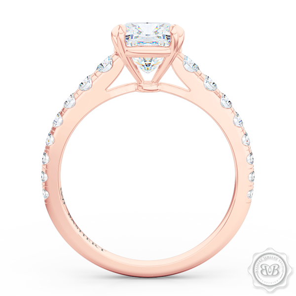 Classic Four Split Prong Cushion Cut Moissanite Solitaire Engagement Ring. Handcrafted in Romantic Rose Gold. Charles & Colvard Forever One,  Colorless Moissanite. French Pavé set Diamond shoulders. Free Shipping for All USA Orders. 30-Day Returns | BASHERT JEWELRY | Boca Raton, Florida.