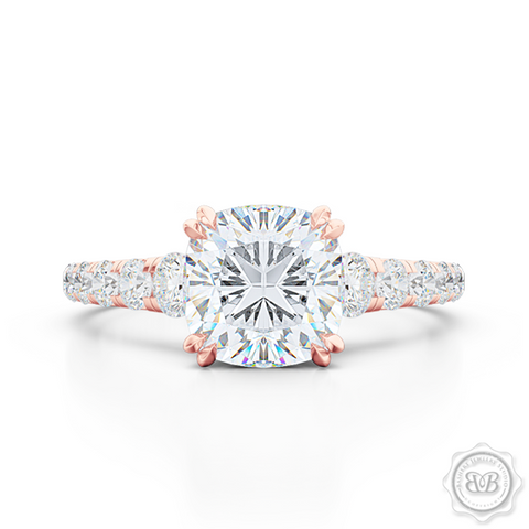 Classic Four Split Prong Cushion Cut Diamond Solitaire Engagement Ring. Handcrafted in Romantic Rose Gold, GIA Certified Diamond and French Pavé set Diamond shoulders. Free Shipping for All USA Orders. 30Day Returns | BASHERT JEWELRY | Boca Raton, Florida