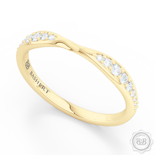 Twist Diamond Wedding Band.  Softly tapered shoulders of the ring are elegantly twisted and slightly pinched-in together and adorned with Round Brilliant Diamonds. The Perfect Compliment for Your Engagement Ring. Free Shipping on All USA Orders. 30 Day Returns | BASHERT JEWELRY | Boca Raton Florida