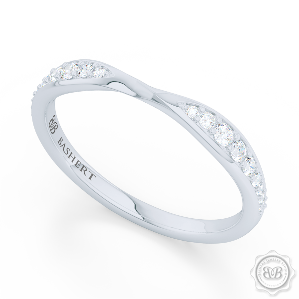 White Gold or Platinum, Pinched-In Twist Diamond Wedding Band. The Perfect Compliment for Your Engagement Ring. Free Shipping for All USA Orders. 30 Day Returns | BASHERT JEWELRY | Boca Raton Florida