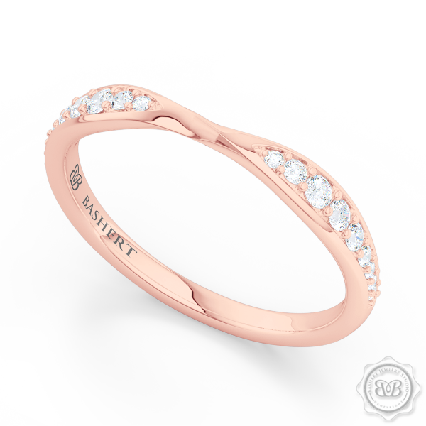 Elegantly Pinched-In and Twisted Wedding Band Handcrafted in Romantic Rose Gold. Perfect Compliment for Your Engagement Ring. Free Shipping for All USA Orders. 30Day Returns | BASHERT JEWELRY | Boca Raton, Florida