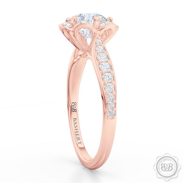 Flower inspired Round Halo Engagement Ring. Handcrafted in Romantic Rose Gold and GIA Certified Round Brilliant Diamond.  Free Shipping USA. 30 Day Returns | BASHERT JEWELRY | Boca Raton, Florida