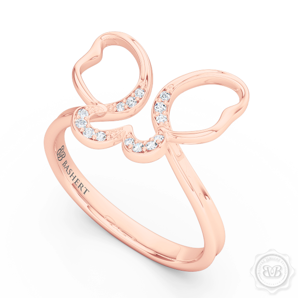 Handcrafted Fashion Infinity Ring. Open Butterfly Wings Frosted with Round Brilliant Diamonds. Style it with Gems of Your Choice. Available in 14K or 18K Rose Gold. Free Shipping to all USA. 30Day Returns. BASHERT JEWELRY | Boca Raton, Florida