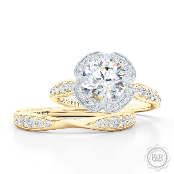 Exquisite round East-West Halo engagement ring. Crafted in Classic Yellow Gold and Platinum. GIA certified Round Diamond.  Elegant bead-set Diamond encrusted shoulders. Free Shipping USA. 30-Day Returns | BASHERT JEWELRY | Boca Raton, Florida