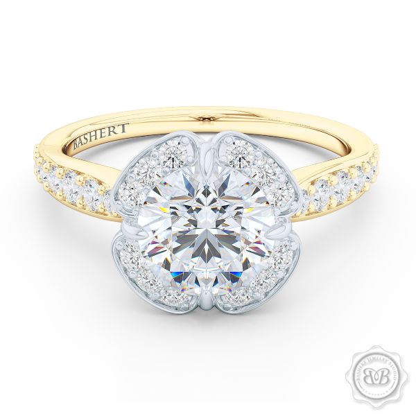 Exquisite Round East-West prongs Halo engagement ring. Crafted in two-tone Classic Yellow Gold and Precious Platinum crown. GIA certified Round Brilliant Diamond. Elegant bead-set Diamond encrusted shoulders. Free Shipping USA. 30-Day Returns | BASHERT JEWELRY | Boca Raton, Florida