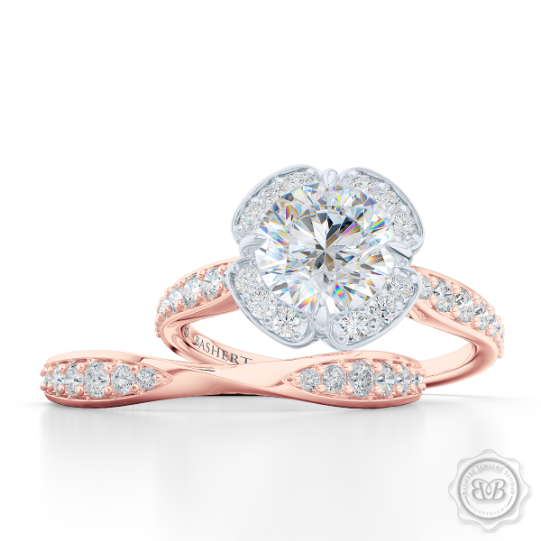 Elegantly Pinched-In and Twisted Wedding Band Handcrafted in Romantic Rose Gold.  Matching Round Halo Engagement Ring Set.  Free Shipping for All USA Orders. 30 Day Returns | BASHERT JEWELRY | Boca Raton Florida
