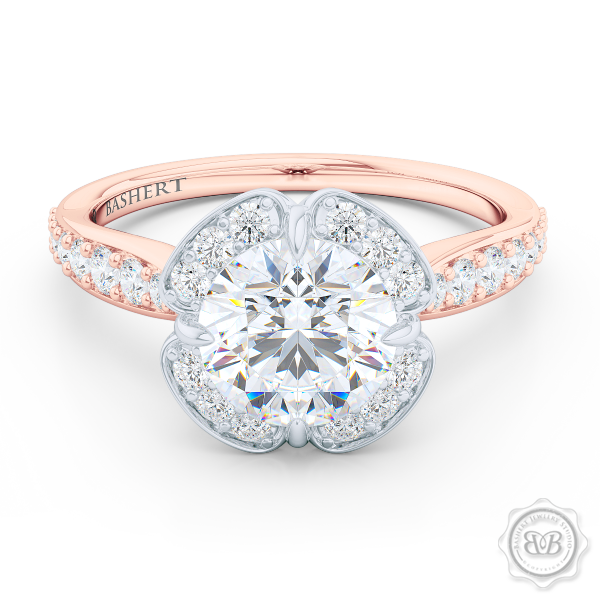 Exquisite Round East-West prongs Halo engagement ring. Crafted in two-tone Romantic Rose Gold and Precious Platinum crown. GIA certified Round Brilliant Diamond. Elegant bead-set Diamond encrusted shoulders. Free Shipping USA. 30-Day Returns | BASHERT JEWELRY | Boca Raton, Florida