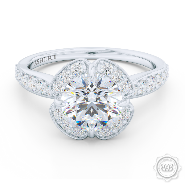 Exquisite Round East-West prongs Halo engagement ring. Crafted in White Gold and Precious Platinum crown. GIA certified Round Brilliant Diamond. Elegant bead-set Diamond encrusted shoulders. Free Shipping USA. 30-Day Returns | BASHERT JEWELRY | Boca Raton, Florida