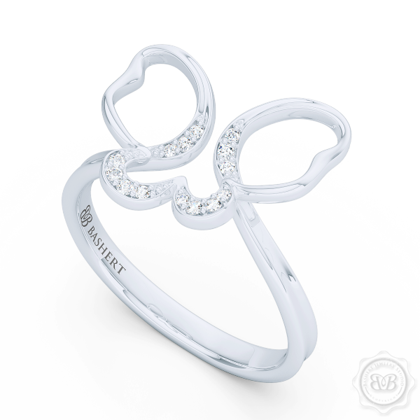 Handcrafted Fashion Infinity Ring. Open Butterfly Wings Frosted with Round Brilliant Diamonds. Style it with Gems of Your Choice. Available in 14K or 18K White Gold. Free Shipping to all USA. 30Day Returns. BASHERT JEWELRY | Boca Raton, Florida