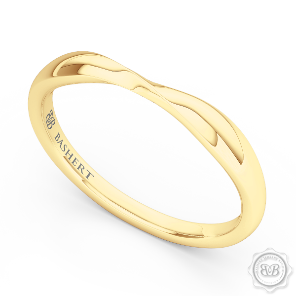 Elegant Twist Wedding Band, handcrafted in Classic Yellow Gold. The Perfect Compliment for Your Engagement Ring. Free Shipping for All USA Orders. 30 Day Returns | BASHERT JEWELRY | Boca Raton Florida