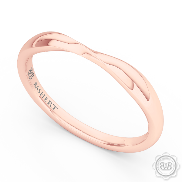 Elegant Twist Wedding Band, handcrafted in Romantic Rose Gold. The Perfect Compliment for Your Engagement Ring. Free Shipping for All USA Orders. 30 Day Returns | BASHERT JEWELRY | Boca Raton Florida