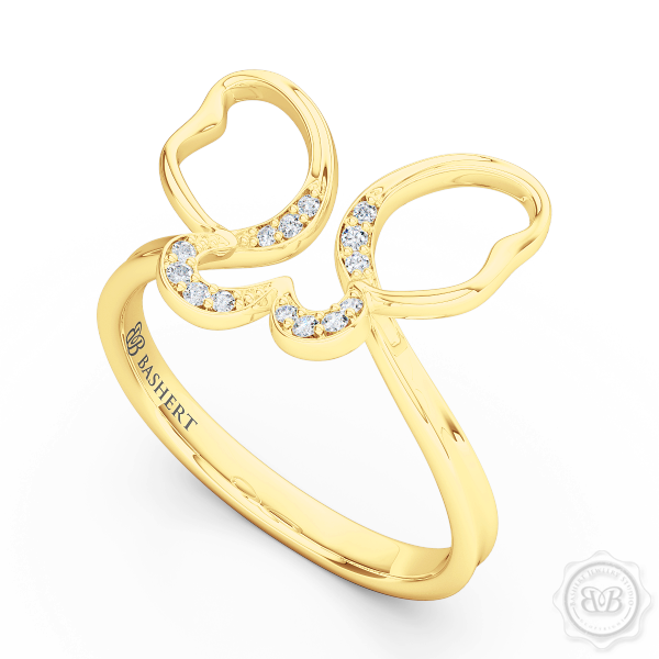 Handcrafted Fashion Infinity Ring. Open Butterfly Wings Frosted with Round Brilliant Diamonds. Style it with Gems of Your Choice. Available in 14K or 18K Yellow Gold. Free Shipping to all USA. 30Day Returns. BASHERT JEWELRY | Boca Raton, Florida