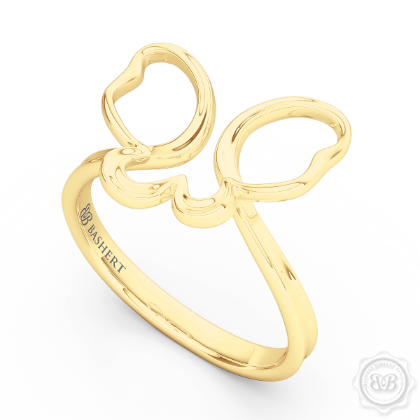 Dainty Open Wings Butterfly Fashion Ring Handcrafted in Classic Yellow Gold. Free Shipping USA. 30Day Returns. BASHERT JEWELRY | Boca Raton, Florida