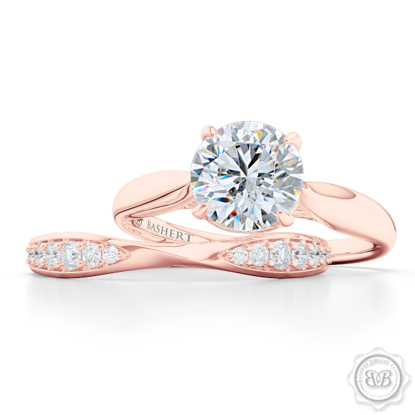 Elegantly Pinched-In and Twisted Wedding Band Handcrafted in Romantic Rose Gold. Matching Round Solitaire Engagement Ring Set.  Free Shipping for All USA Orders. 30 Day Returns | BASHERT JEWELRY | Boca Raton Florida