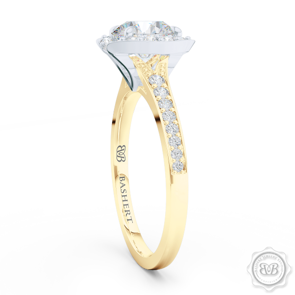 Elegant Round Brilliant, Forever One Moissanite Halo Engagement Ring Inspired by Paris Architecture. Handcrafted in two-tone Yellow Gold and Platinum. Dazzling Bead-Set Crown and Baby-Split Diamond Shoulders. Free Shipping USA 30-Day Returns | BASHERT JEWELRY | Boca Raton, Florida