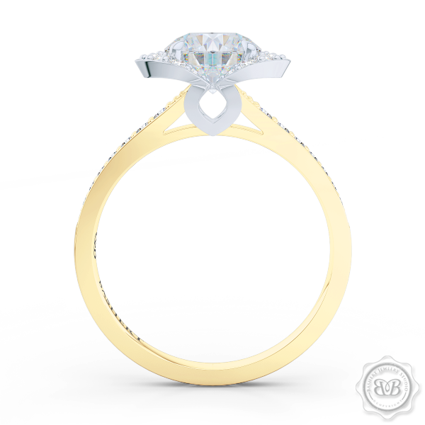 Elegant Design Round Diamond Halo Engagement Ring Inspired by Paris Architecture. Handcrafted in Classic Yellow Gold and Platinum. Dazzling Bead-Set Crown and Baby-Split Diamond Shoulders. Find GIA Certified Diamond Tailored to Your Budget. This Design Offers a Matching Polka Dot Wedding Band For Her. Free Shipping USA 30Day Returns | BASHERT JEWELRY | Boca Raton Florida