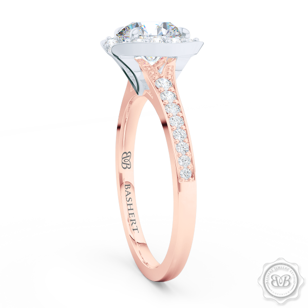 Elegant Round Brilliant, Forever One Moissanite Halo Engagement Ring Inspired by Paris Architecture. Handcrafted in two-tone Rose Gold and Platinum. Dazzling Bead-Set Crown and Baby-Split Diamond Shoulders. Free Shipping USA 30-Day Returns | BASHERT JEWELRY | Boca Raton, Florida