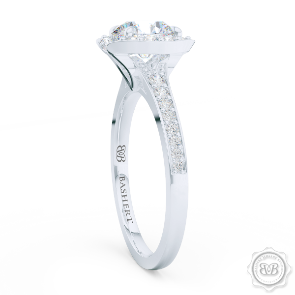 Elegant Round Brilliant, Forever One Moissanite Halo Engagement Ring Inspired by Paris Architecture. Handcrafted in White Gold or Platinum. Dazzling Bead-Set Crown and Baby-Split Diamond Shoulders. Free Shipping USA 30-Day Returns | BASHERT JEWELRY | Boca Raton, Florida
