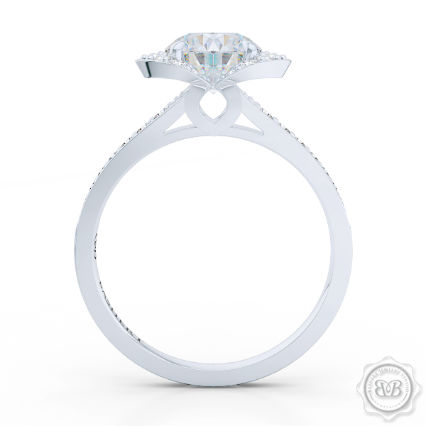 Elegant Design Round Diamond Halo Engagement Ring Inspired by Paris Architecture. Handcrafted in White Gold or Platinum. Dazzling Bead-Set Crown and Baby-Split Diamond Shoulders. Find GIA Certified Diamond Tailored to Your Budget. This Design Offers a Matching Polka Dot Wedding Band For Her. Free Shipping USA 30Day Returns | BASHERT JEWELRY | Boca Raton Florida
