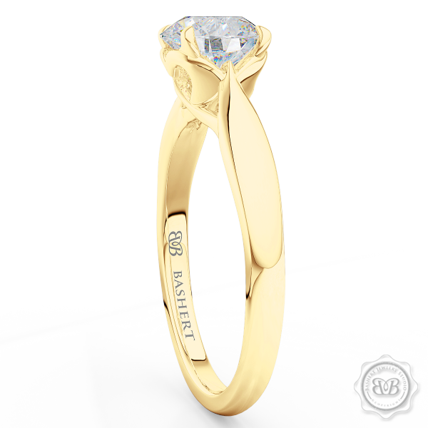 "Award-Winning Engagement Ring Design. Classic Round Solitaire Handcrafted in Classic Yellow Gold.  Signature ""Infinity Heart"" Crown Accentuated by Gently Tapered Shoulders. Find a GIA Certified Diamond Tailored to Your Budget. Choice of  Plain or Diamond Matching Wedding Band For Her. Free Shipping USA. 30Day Returns 