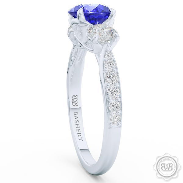 "Classic Three-Stone ""Infinity Hearts"" Sapphire Engagement Ring. Handcrafted in White Gold or Precious Platinum. Royal Blue Sapphire and GIA Certified Diamond Accent Stones. Celebrate Your Past-Present-Future with This Award-Winning Design. Free Shipping USA.  30Day Returns 